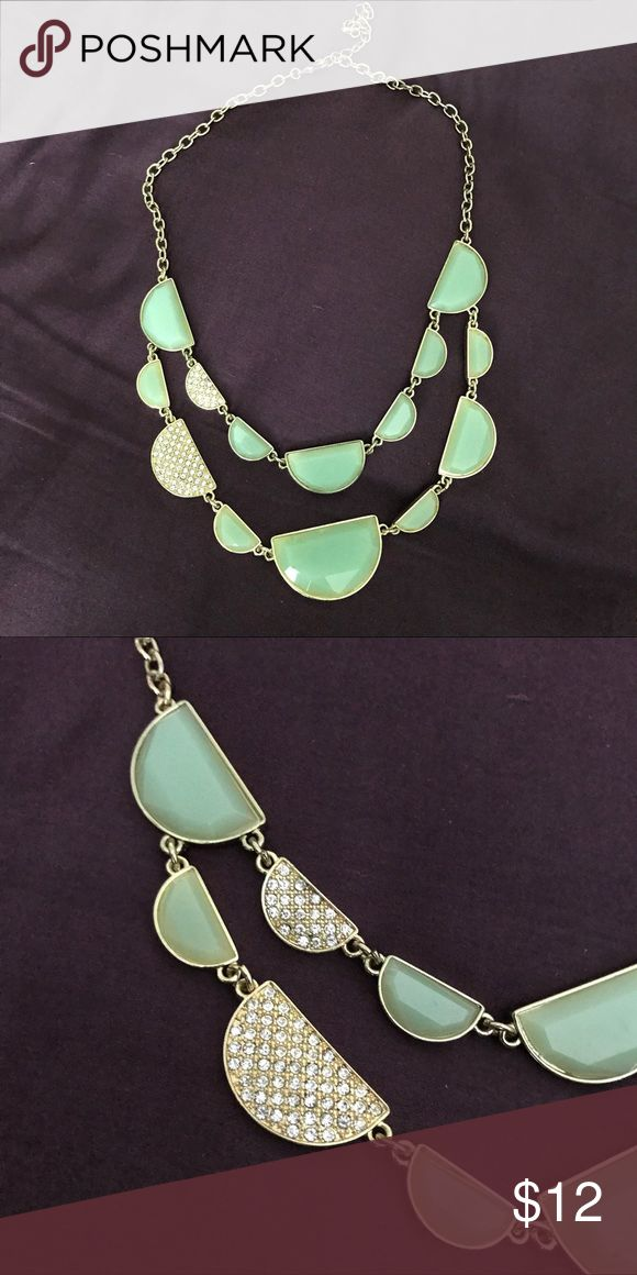 Mint Green Statement Necklace Gold chain statement necklace with mint green stones and jewel details. Jewelry Necklaces