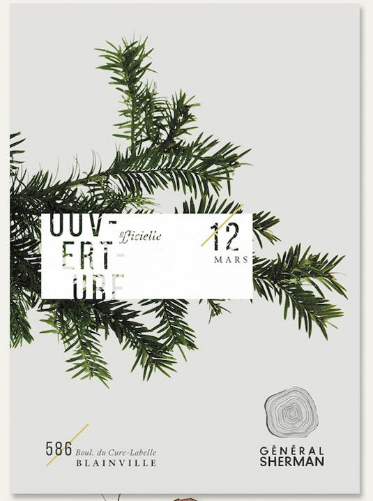 Général Sherman is a particular giant sequoia tree located in a national park in California, and also the name of a bar in Montreal, Canada. Design agency BZOING have used the foliage of the tree and some beautiful type for their flyer. It fits nicely with the general branding for the bar, which incorporates photography of leaves, twigs, fruit and herbs. -Creative Bloq