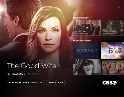 "查看此 @Behance 项目:""CBS TV UI/UX""https://www.behance.net/gallery/28703033/CBS-TV-UIUX"