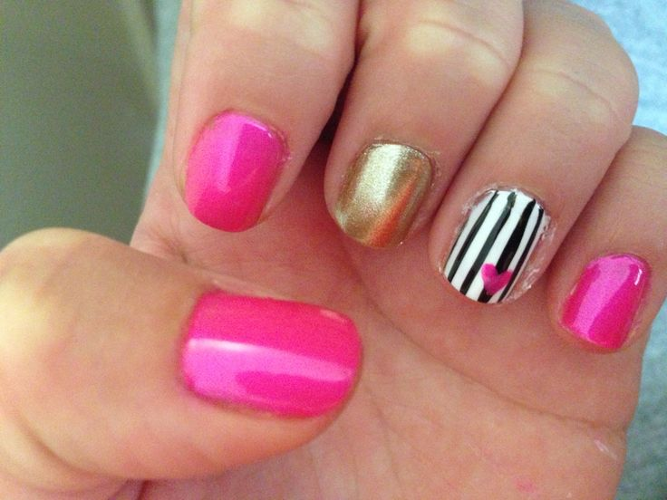 Pink Gold Stripes Nail Art Uas Nails Pinterest