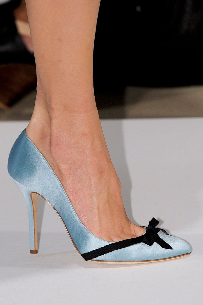 #Oscar de la Renta Spring 2013 New York Fashion Week.  The Return of the pointed toe stilleto ,cant wait. We have seen some of the Bridal shoes and Wedding shoes coming through in pointed toes but on our occasion footwear the peep toe is king. This Satin Beauty is quite low cut giving the wearer pleanty of toe cleavige. www.bridalshoesuk.co.uk The Wedding Boutique