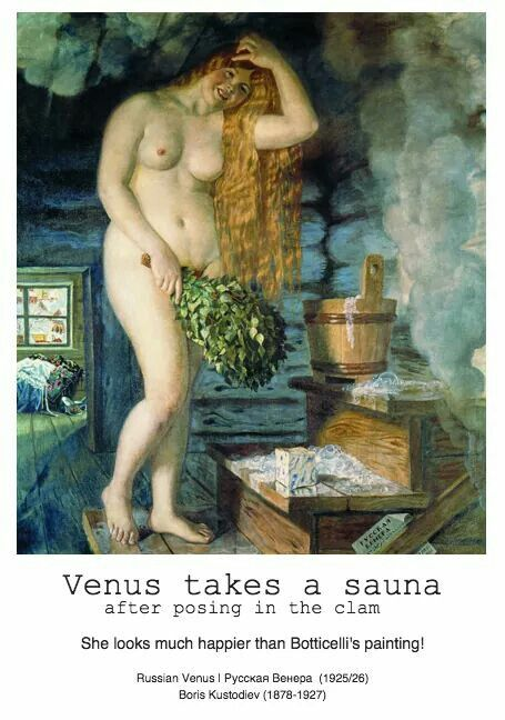 Russian Venus takes a sauna bath