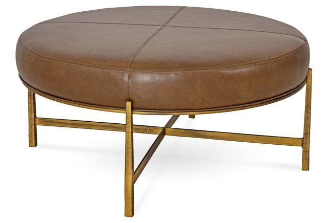 "Round Ottoman, Saddle Leather & Bronze, 44""Dia x 19""H"