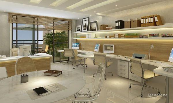 escritório branco e madeira