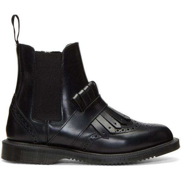 Dr. Martens Black Tina Chelsea Boots (£135) ❤ liked on Polyvore featuring shoes, boots, ankle booties, black, zipper boots, black booties, chelsea bootie, black ankle booties and fringe boots