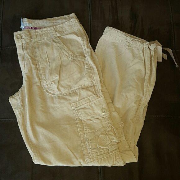 Old Navy Corduroy Cargo Pants Drawstring NEW Womens Size 12 Khaki #OldNavy #Cargo