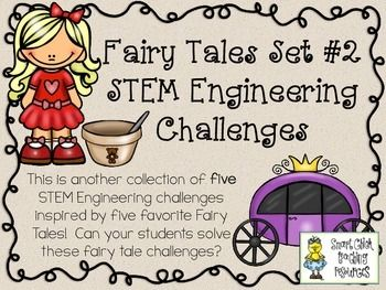 STEM Engineering Challenges Pack ~ Fairy Tales Set #2 ~ Set of Five!  $  Goldilocks' Just Right Challenge Cinderella's Gravity Carriage Challenge Princess & the Pea's Sponge Stack Challenge Little Red's Basket Challenge Snow Queen's Tower Challenge