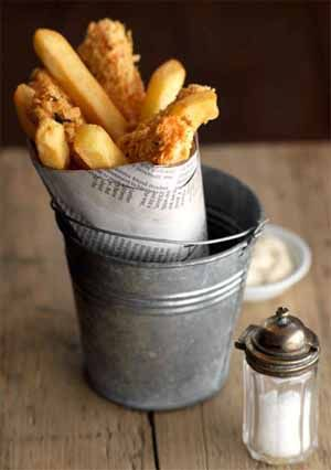 Posh Fish & Chips. Represent the British culture. Also relates to 'posh food' without being too expensive.
