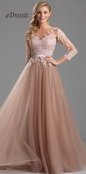 Emit your elegance and feminine beauty in this long lace prom dress. In this gorgeous gown you will captivate the crowds with your right-of-the-red-carpet style and sheer sophistication! The illusion neckline, lace sleeves and tulle skirt are breathtaking elements that you must showcase at this year's prom party!