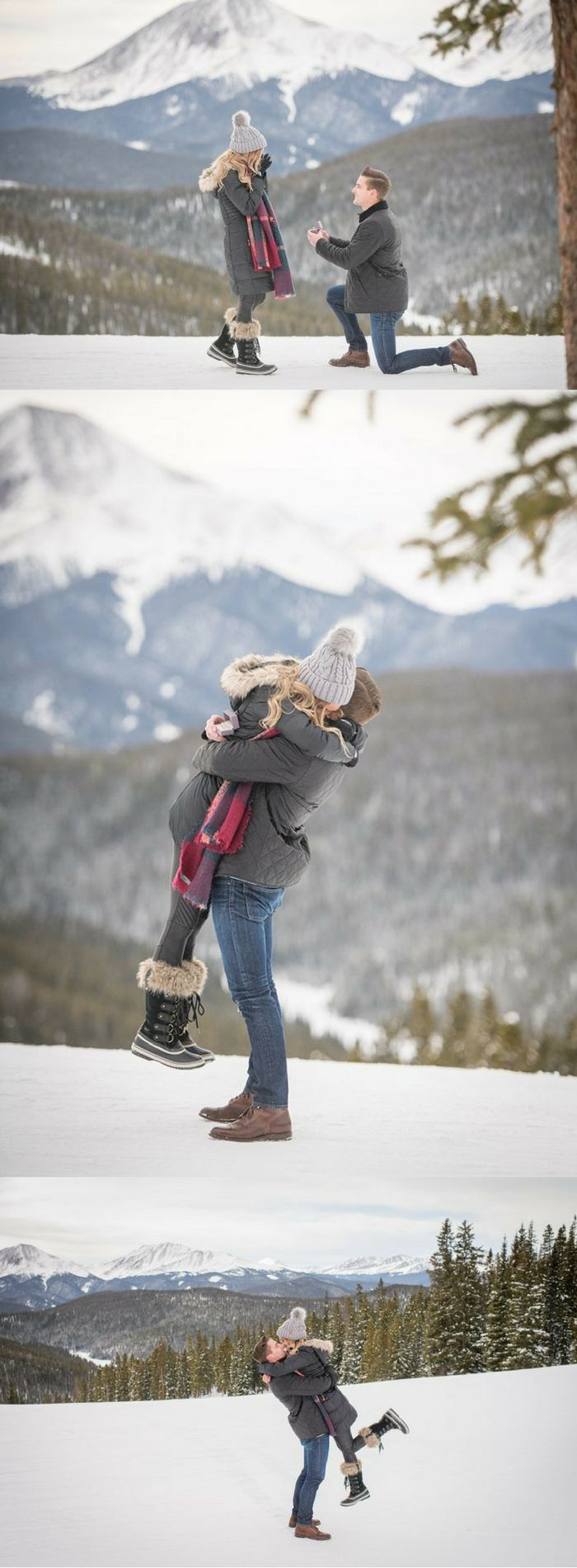He got on one knee with the perfect mountain view! This is the sweetest snowy proposal.