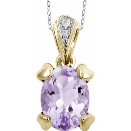 JewelersClub 1.09 Carat Pink Amethyst Gemstone and Accent White Diamond Pendant, Gold