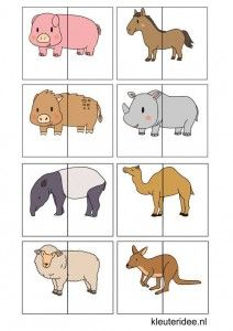 Animal match for preschool, free printable.