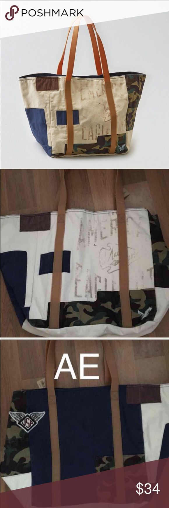 AE Camo & Logo Tote bag NWT. Camo/logo print. Pictures show front and back side. Has zipper pocket. Super spacious. Handles have a rubbery type of feel. Would make a great beach, travel bag, or diaper bag!! American Eagle Outfitters Bags Totes