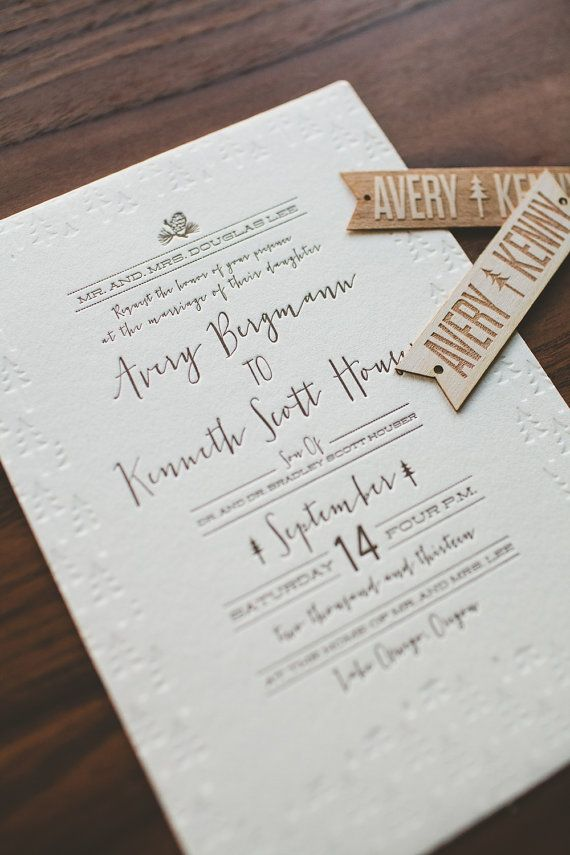 Rustic Folk and Woodland Modern Letterpress Wedding Invitation: Pine Cone, Trees £1.83