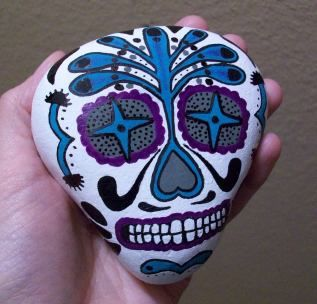 Mexican Skull art painted rock by ~TinyAna on deviantART