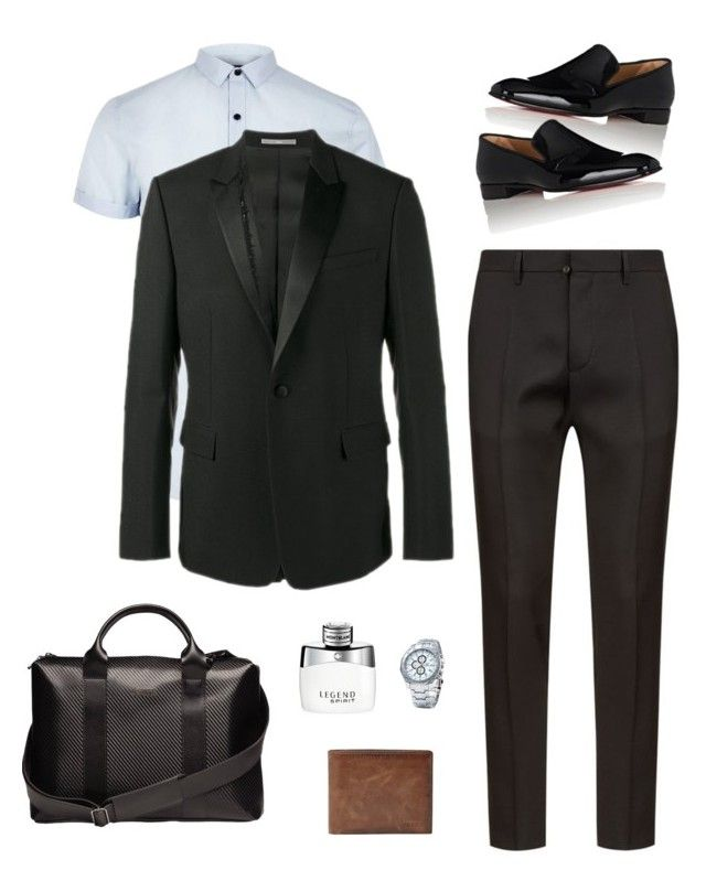 office by desiharyanto on Polyvore featuring River Island, Dsquared2, Christian Dior, Christian Louboutin, FOSSIL, Montblanc, ESTIE Bags, men's fashion and menswear