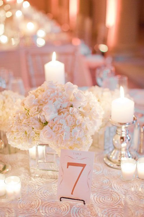 Candlelight and white hydrangeas make for a winning combination. #weddingcenterpiece