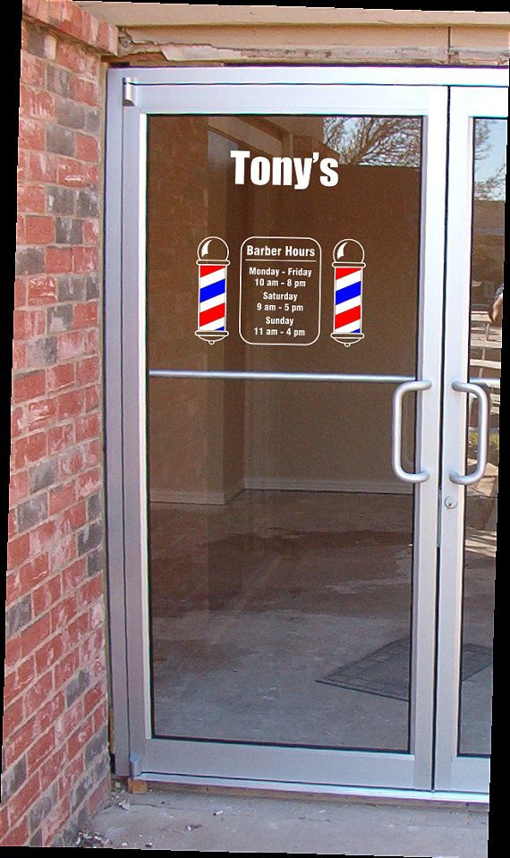 One Barber Shop Pole Vinyl Decal Door Sign by CanadianBuzzard, $12.80