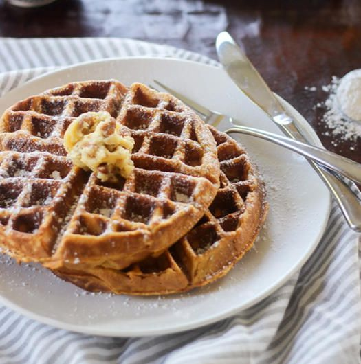 Sweet Potato Waffles with Pecan Honey Butter:  Normally waffles aren't a very nutritious option. This recipe uses sweet potatoes to make them lighter. Top with fruit and nuts instead of the butter for an even healthier swap.  http://www.wickedspatula.com/sweet-potato-waffles-pecan-honey-butter/