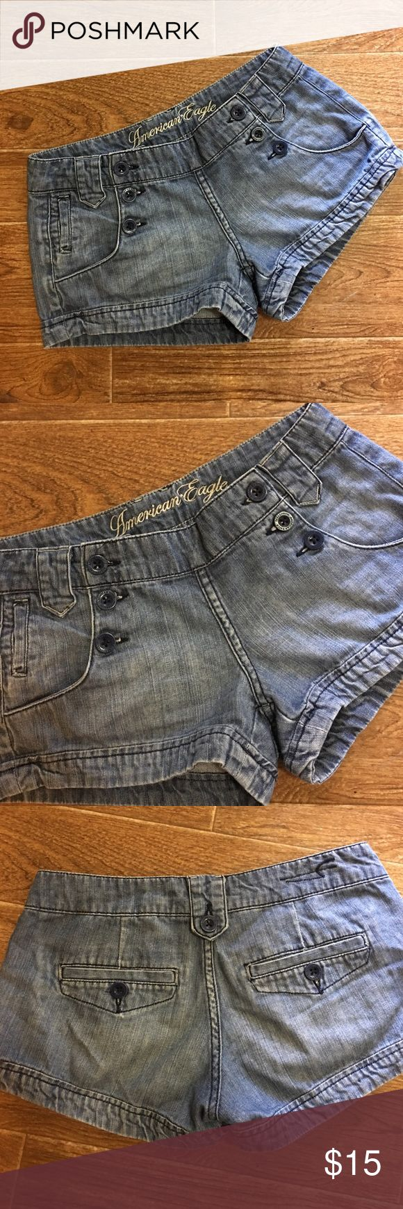 American Eagle Outfitters- Denim Sailor Shorts American Eagle Outfitters soft denim sailor shorts American Eagle size too. In great preowned condition. Please be sure to check out all of my other boutique items to bundle and save. Same day or next business day shipping is guaranteed. Reasonable offers will be considered! American Eagle Outfitters Shorts Jean Shorts