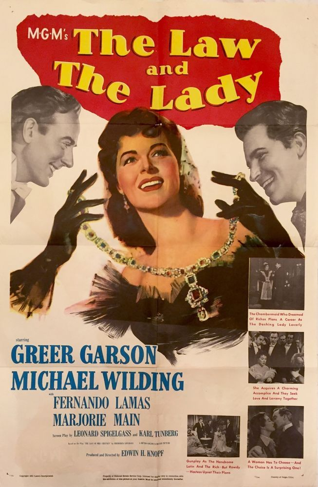 Movie Poster The Law and The Lady 1951 Greer Garson Michael Wilding One Sheet | eBay