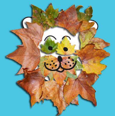 Tête de lion en feuille d'automne