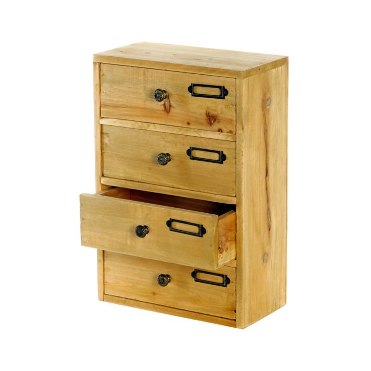 Small Wooden Desk Tidy Tall 4 X Drawers Wood Rustic Shabby Storage Organiser D03 In Home
