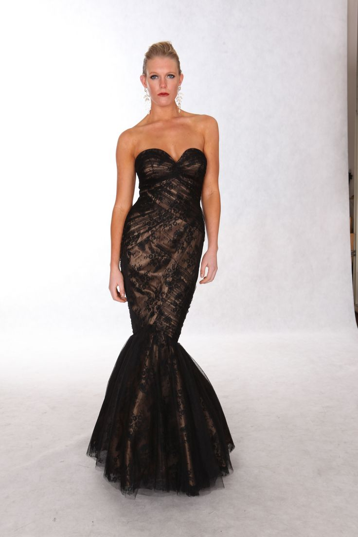 Style: 5008 black tule lace over nude, fish tail dress.