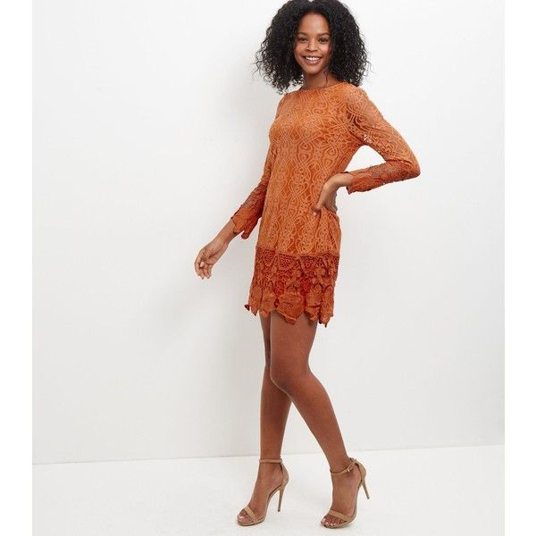 New Look Mela Orange Lace Dress ($19) ❤ liked on Polyvore featuring dresses, orange, white lace dress, lace dress, lace summer dress, orange white dress and new look dresses
