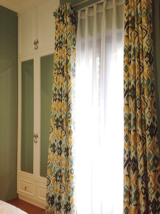 Yellow ikat for curtain