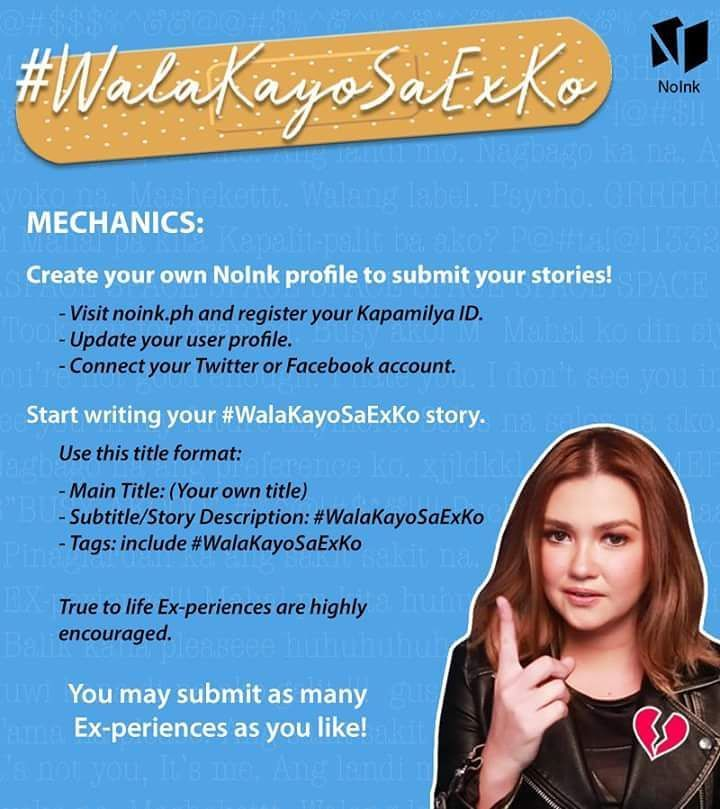 A special shout-out to our kapamilyas who have submitted & are thinking about submitting their stories for the #WalaKayoSaExKo NoInk Valentine's challenge. Here are the mechanics.  Excited na kaming mabasa ang mga EX-periences niyo kapamilya!   #NoInk #NoInkOfficial #ABSCBNPublishing #WalaKayoSaExKo #mechanics #writingchallenge #writing #challenge #challengeaccepted #exes #exboyfriend #exgirlfriend #story #stories #experience #experiences #you #me #love #men #women #millennial #millennials…