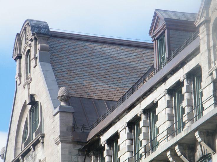 "McGill University's MacDonald Engineering Building, semi-weathering green roofing slate (16"" x 8"" x 3/8"")"