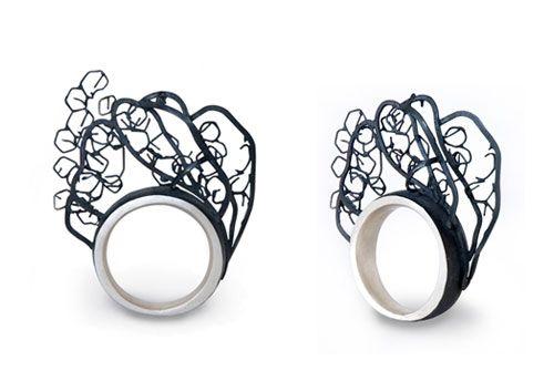 Tissa Berwanger  Ring: Estruturas Vegetais 2007  Blackened silver
