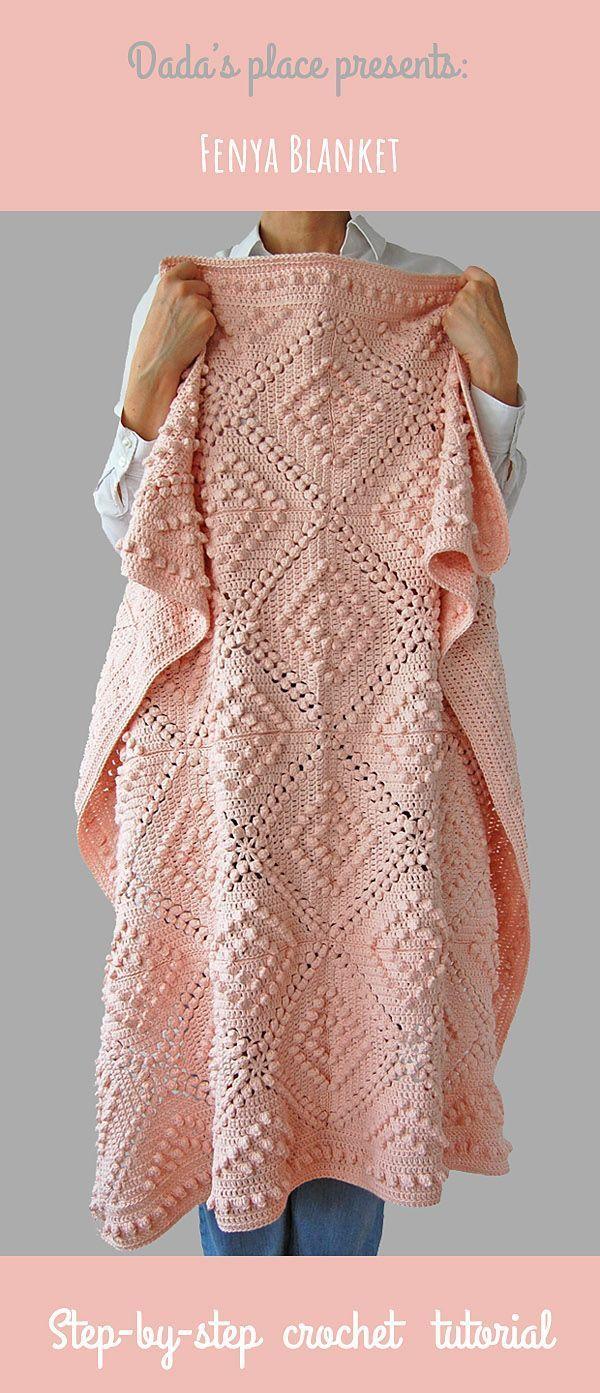 Fenja cobertor é bonito, cobertor de crochê estilo vintage, muito fácil de fazer, es ...