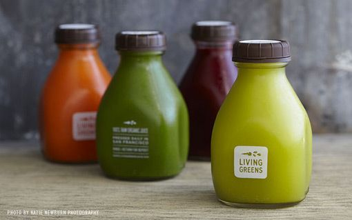 Living greens organic juice by Noise 13. A a reusable bottle that while on the shelf the product is the color coding that catches the eyes. Nice contrast and minimalist design. Attractive shaped bottle.