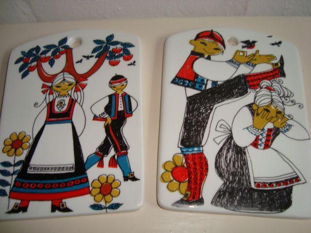 """STAVANGERFLINT """"Per Spelman"""" - GRO KARLSEN - 1960s. #Stavangerflint #Spelman #Karlsen #retro #dinnerware #tableware #smørebrikker. From www.TRENDYenser.com. SOLGT/SOLD"""