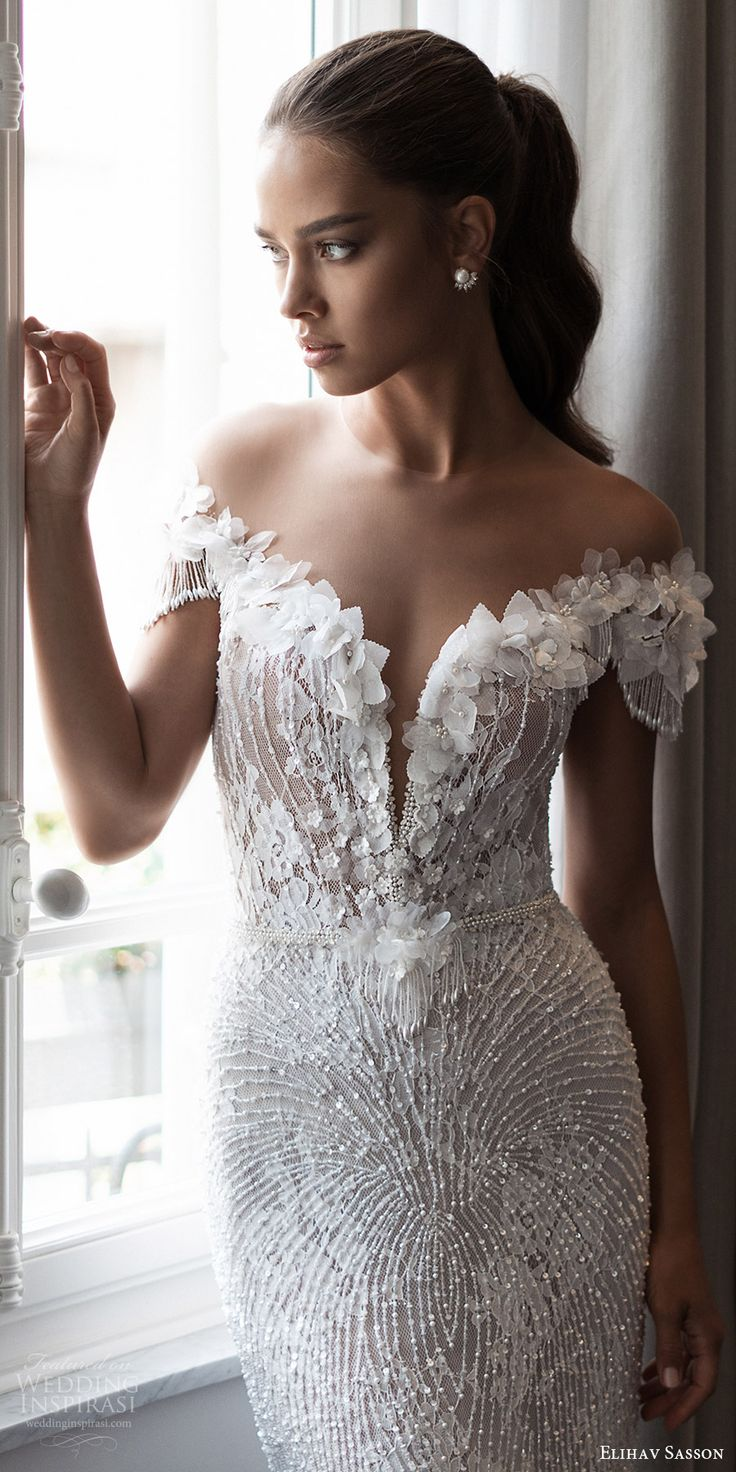 elihav sasson spring 2018 bridal illusion jewel neck off shoulder cap sleeeves fully beaded sheath wedding dress (vj 013) mv glam elegant -- Elihav Sasson 2018 Wedding Dresses