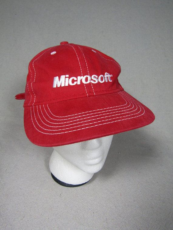 Super rad vintage 90s red fabric Microsoft baseball cap with adjustable  strapback closure. Excellent vintage condition 595a763a1