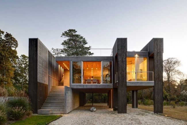Maison contemporaine en bois sur pilotis  The ojays, Architecture and T