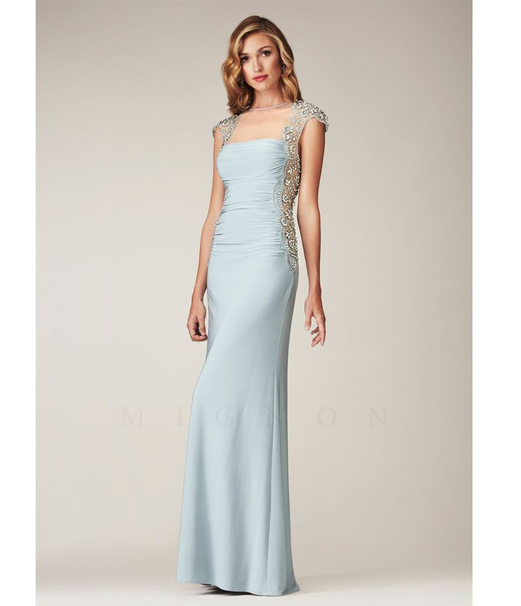 Mignon 2014 Fall Dresses - Blue Mist Sexy Illusion Low Back Cap Sleeve Gown (41226-VM-1077C) van Mignon - Please allow a...Price - $598.00-Rh7SXIhH