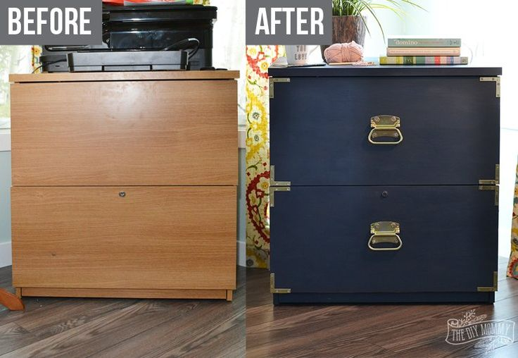 I was almost ready to throw this outdated old filing cabinet out when I had an idea. I remembered an expensive campaign dresser I had seen in an expensive home…