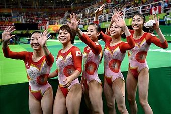 Asuka Teramoto, Mai Murakami, Sae Miyakawa, Aiko Sugihara and Yuki Uchiyama of Japan pose for photographs after the Women's qualification for Artistic Gymnastics on Day 2 of the Rio 2016 Olympic Games at the Rio Olympic Arena on August 7, 2016 in Rio de Janeiro, Brazil