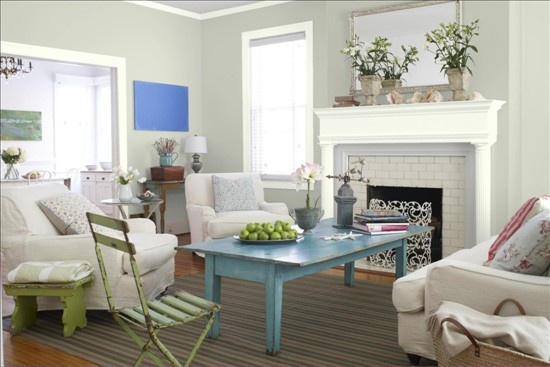 Better Homes and Gardens - Grays - White Sage 410-2 Olympic & Silver Satin 856 Benjamin Moore