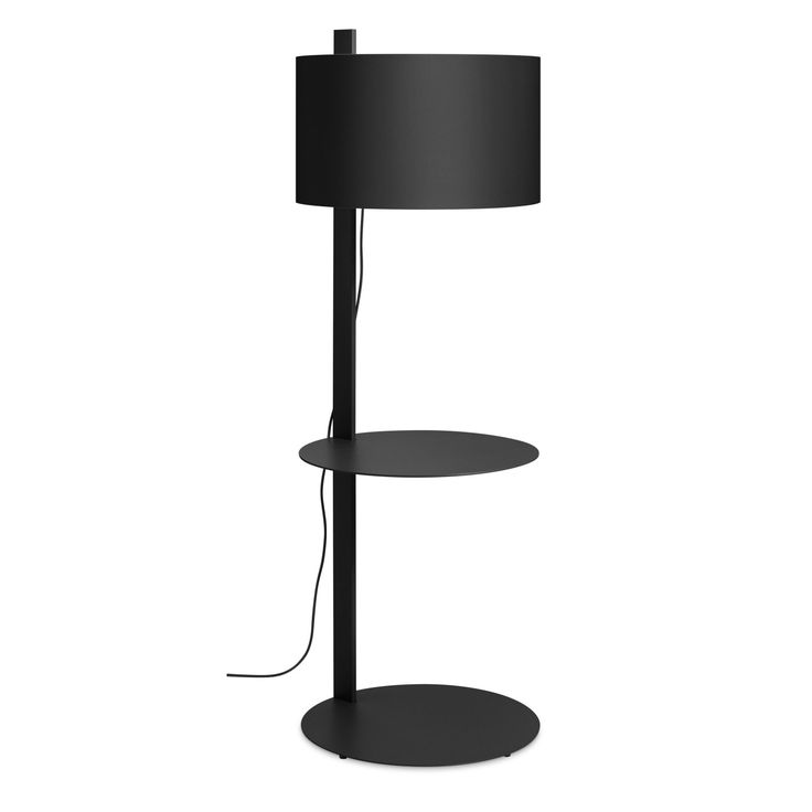 Note Large Floor Lamp with Table - Black