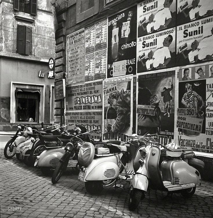 "July 1955. La Dolce Vespa ""Rome, Italy. Coverage focuses primarily on people, places and historical monuments."" From photos by Philip Harrington for the Look magazine article ""Can Catholics Separate Church and State?"""