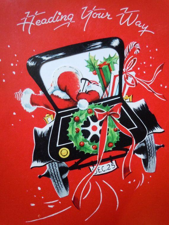 Vintage Santa Clause Christmas Card Used by TakeAdVintage on Etsy, $3.75