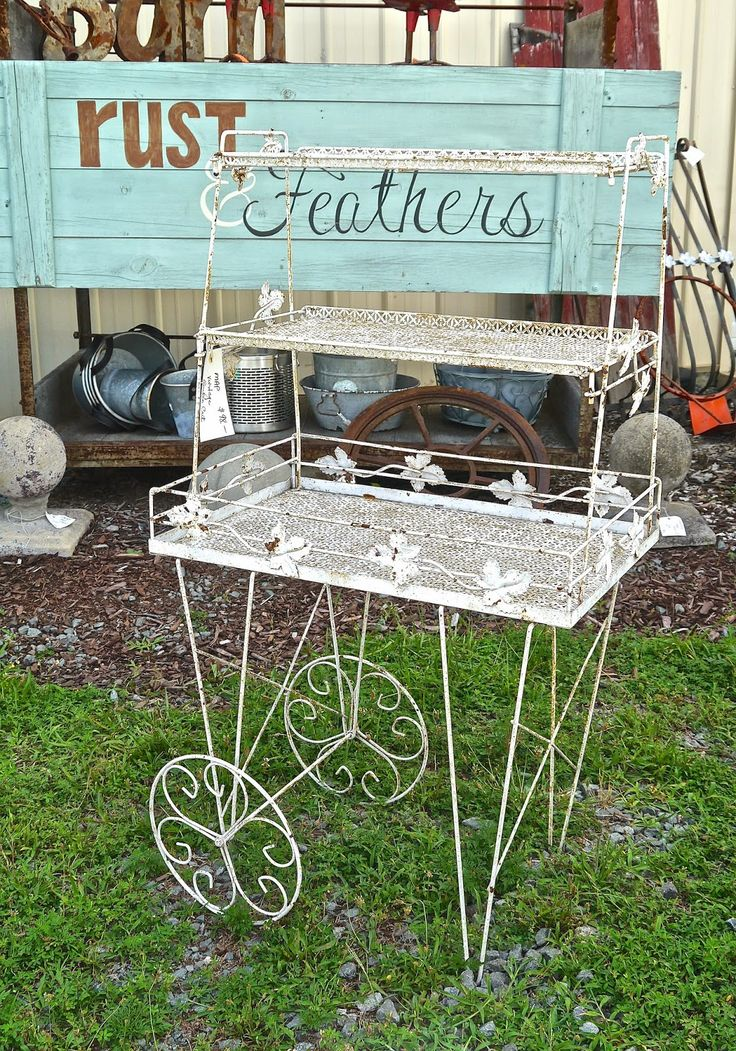 Vintage Metal Flower Cart Porch Flower Cart Metal