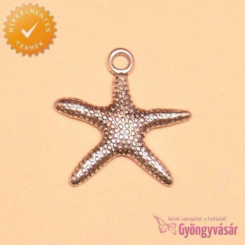 Ezüstszínű tengeri csillag - nikkelmentes fém zsuzsu / fityegő • Gyöngyvásár.hu