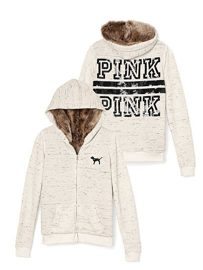 Faux Fur Zip Hoodie PINK   Pricing Details JG-325-746 (L12) We've upgraded your favorite zip hoodie with soft, cozy faux-fur lining so it's perfect for chilly days and nights. Must-have sweats by Victoria's Secret PINK. Slim fit Faux-fur lined Cozy, supersoft fleece Imported cotton/polyester