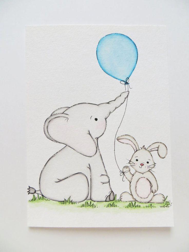 hase und elefant kindergarten gemälde geschlechtsneutrale
